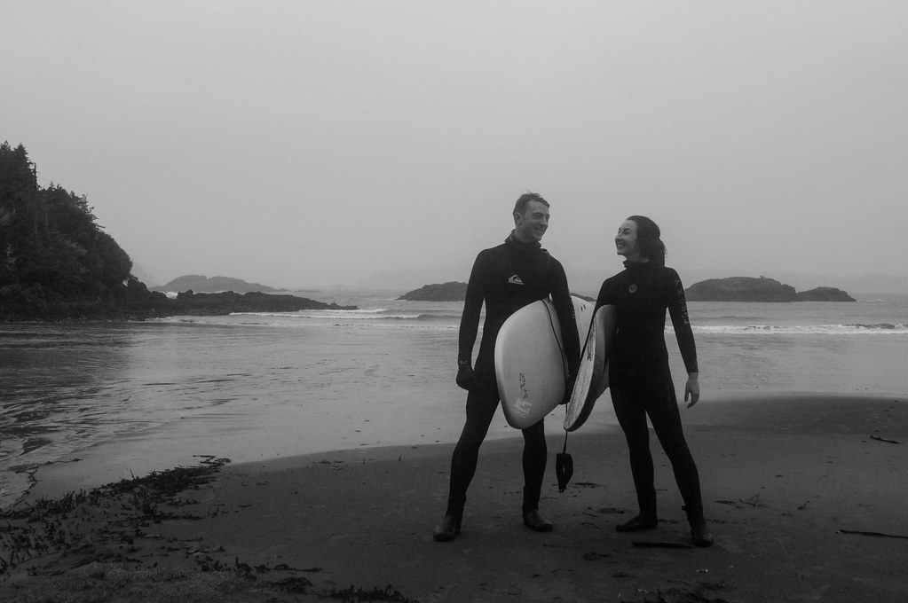 surfing in Canada to celebrate 5 years of marriage