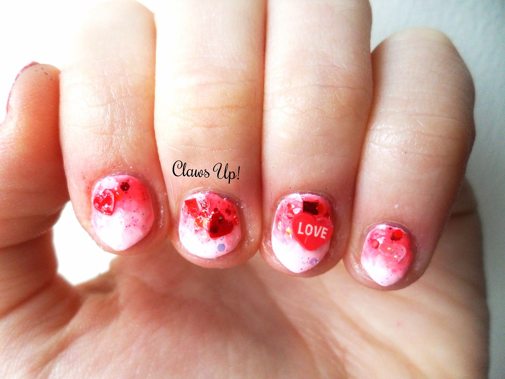 Valentine's day pink and red glitter gradient manicure