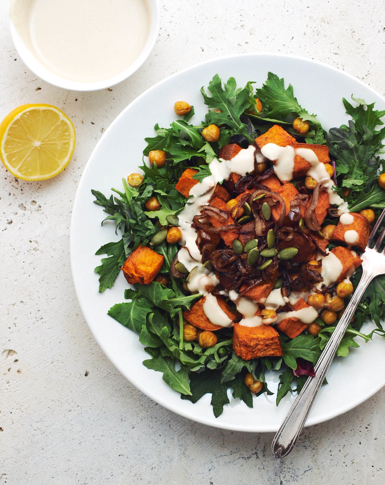 SWEET POTATO & CHICKPEA SALAD + CRISPY SHALLOTS