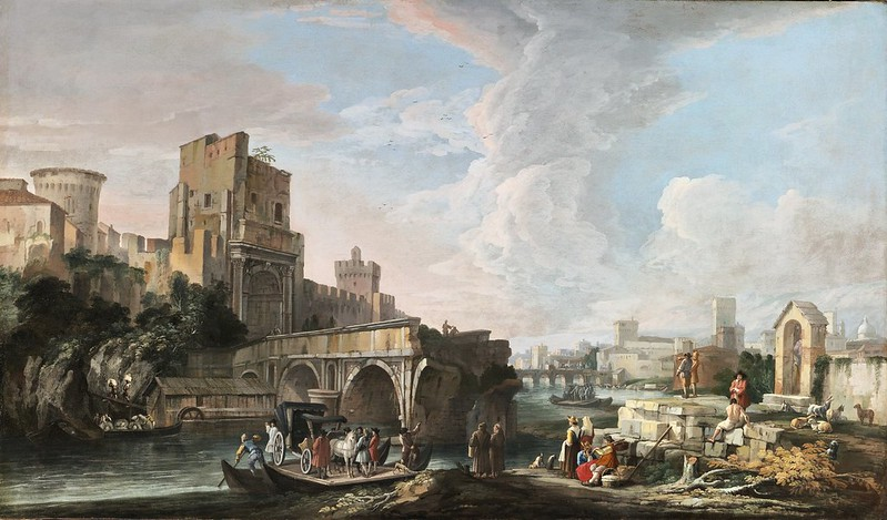 Luca Carlevarijs - River landscape with a capriccio view of the ponte rotto, Rome (c.1712)