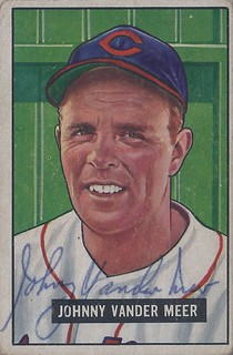 1951 Bowman - Johnny Vander Meer #223 (Pitcher) (b: 2 Nov 1914 - d: 6 Oct 1997 at age 82) - Autographed Baseball Card (Cleveland Indians)