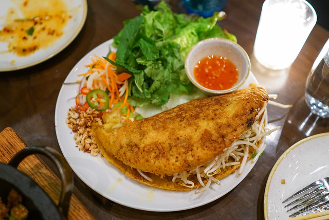 vietnamese crepe, 'banh xeo', prawns, pork belly, bean sprout, herbs n' greens, house dressing