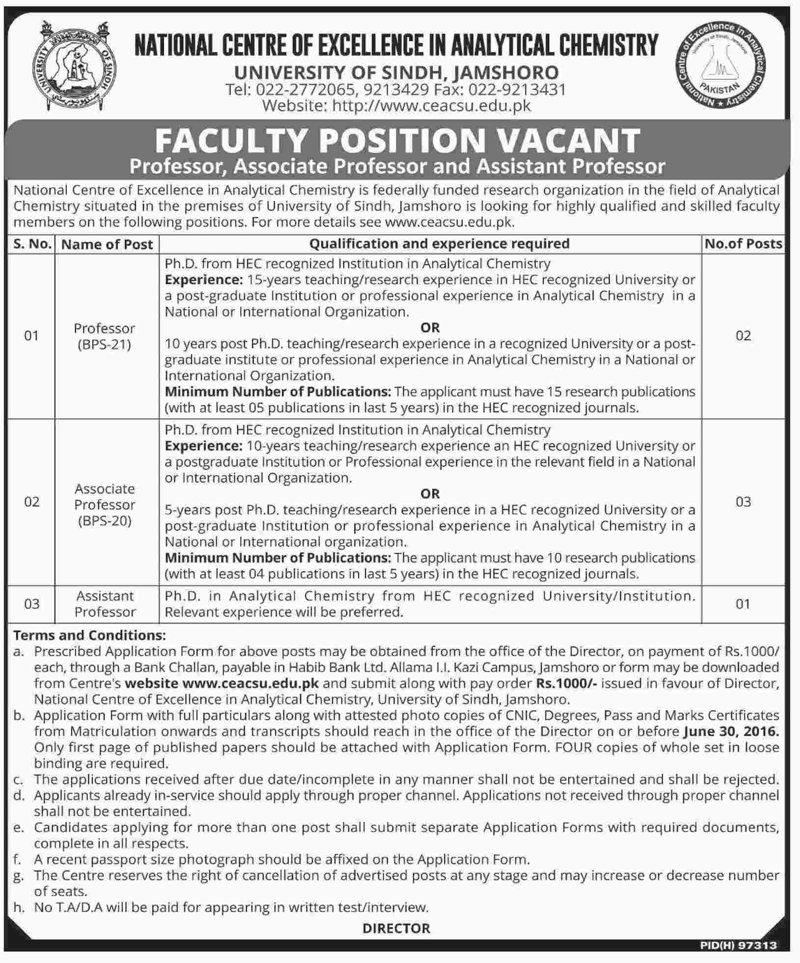 University of Sindh Career Opportunities