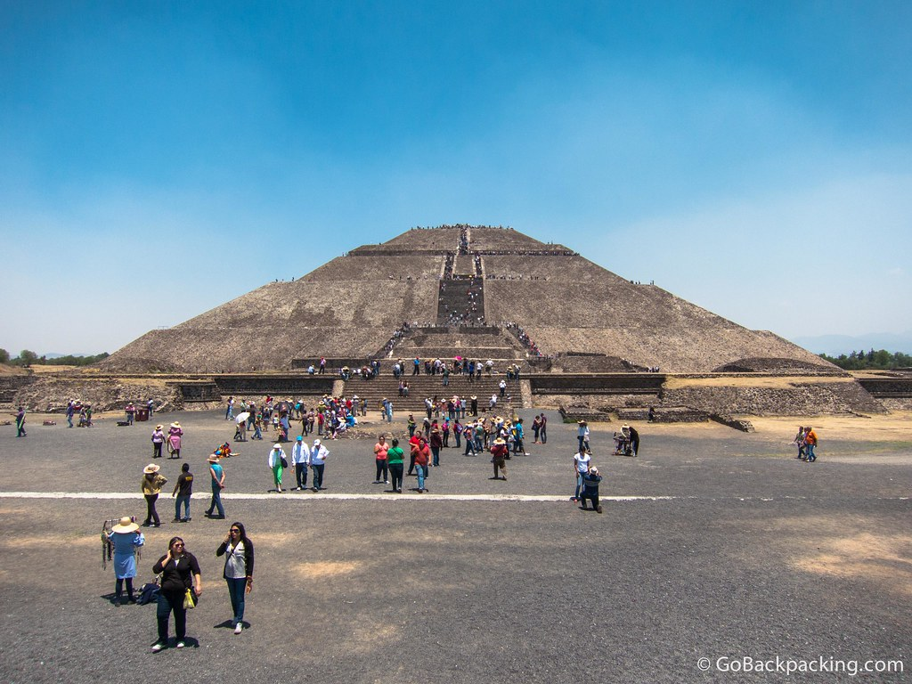 The Pyramid of the Sun as viewed from the Avenue of the Dead