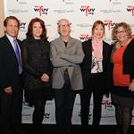 Corny O'Connell, Dennis Elsas, Rosanne Cash, Marshall Crenshaw, Suzanne Vega, Rita Houston and Darren DeVivo. At the Edison Ballroom in New York City, May 9, 2013. Photo by Chris Taggart