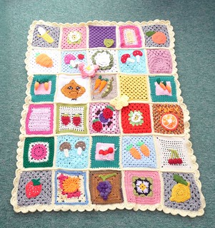 Thanks to everyone who sent in Squares for this 2nd 'Fruit and Veg' Blanket.