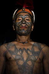 Portrait of a Konyak head-hunter. Mon district, Nagaland. NE India
