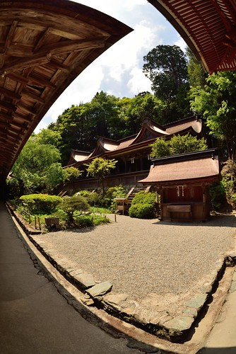 Yoshino Mikumari Shrine seen with fish-eye lens.