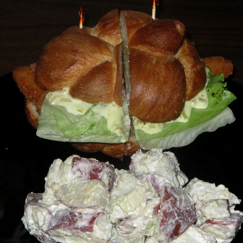 Filet of sole sandwich and potato salad by Coyoty