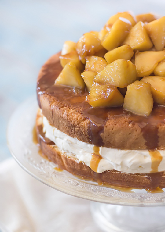 Vanilla Bean Sponge with Salted Caramel Apples