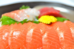 salmon-like fish(0.0), fish(0.0), salmon(1.0), sashimi(1.0), fish(1.0), garnish(1.0), lox(1.0), food(1.0), dish(1.0), cuisine(1.0), smoked salmon(1.0),