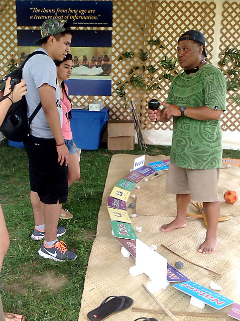 <p>Master Navigator Kalepa Baybayan, of the Imiloa Astronomy Center at the University of Hawaii at Hilo, explains non instrument navigation within the context of the Hawaiian language.</p>