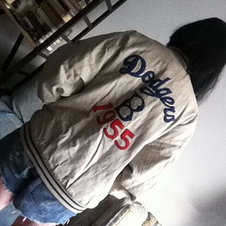 Brooklyn Dodgers 55 baseball jacket (rear view) from tag sale in Dix Hills