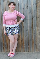 """Missmatch outfit: double floral """"buttoned and blossomed sailor shorts"""" from Anthropologie, red striped mariniere breton top, candy-striped open-toe flats, maiden braids"""