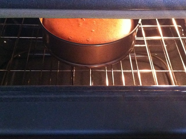 Chocolate Cheesecake Cooling in Open Oven
