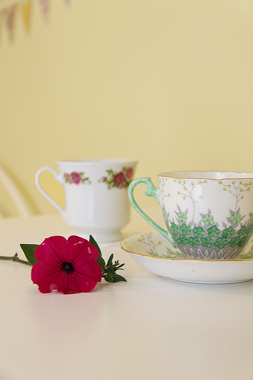 teacups, cute, tea time, pretty, yellow walls