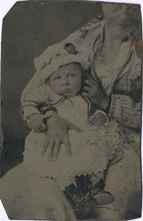 Baby with Hidden Mother Off the Edge - Tintype