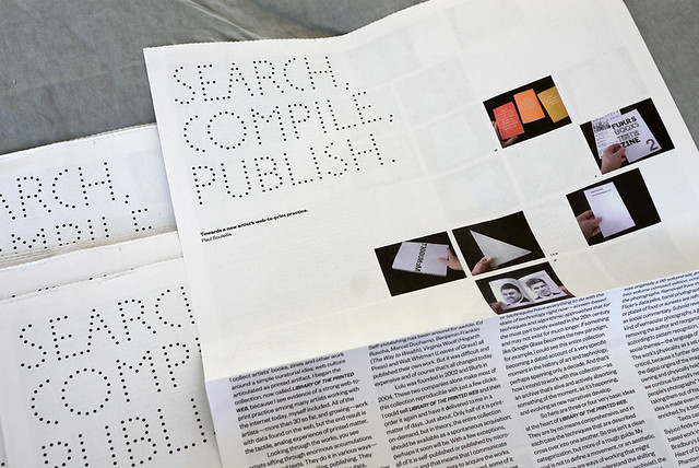 "Next week at Printed Matter's NY Art Book Fair at MoMA PS1: I'll give away 500 4-page newsprint copies of ""Search, compile, publish."""