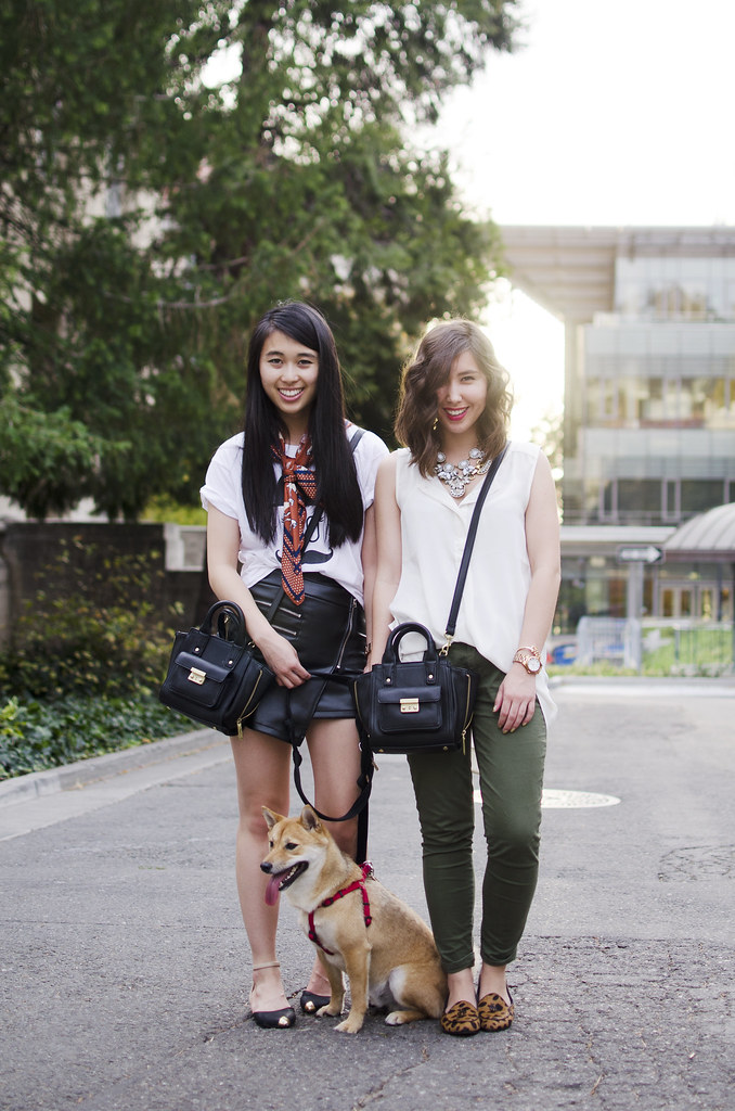 shiba inu, readytwowear blog, whit and mal, bay area style blogger, bay area fashion blog, h&m style, statement necklaces, blogging duo, phillip lim for target pashli