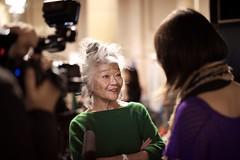 Designer Junko Shimada being interviewed. Junko Shimada Spring Summer 2013 Fashion Show.