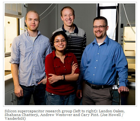 Silicon supercapacitor research group (left to right): Landon Oakes, Shahana Chatterji, Andrew Westover and Cary Pint. (Joe Howell / Vanderbilt)
