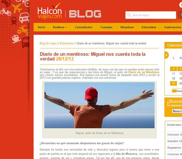 Miguel Egido, de Diario de un Mentiroso en la web de Halcon Viajes