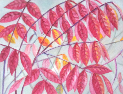 Red Leaves (Oil Bar Painting as of October 21, 2013) by randubnick