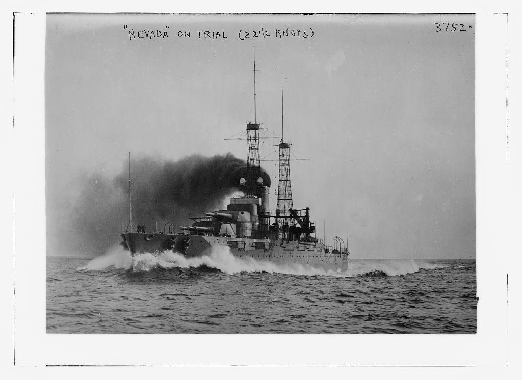 NEVADA on trial run (22 1/2 knots) (LOC)