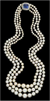 Platinum, natural pearl, diamond and sapphire necklace, Cartier