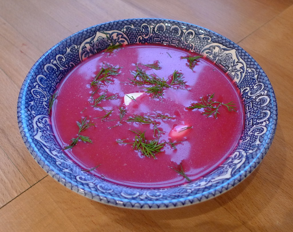 Borscht in bowl