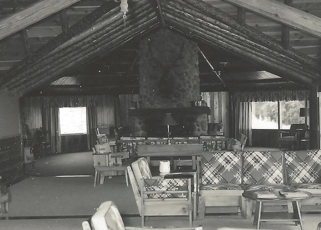 NE Gaylord MI RPPC 1950s-60s MAIN LODGE INTERIOR & FIREPLA ...