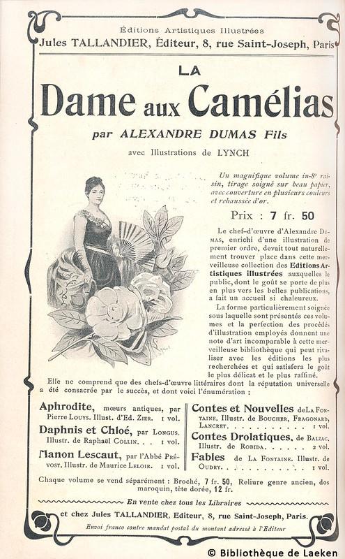 """Publicité pour la parution de """"La Dame aux camélias"""" d'Alexandre Dumas fils"""