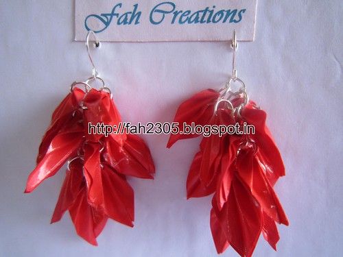 Handmade Jewelry - Origami Paper Leaves Earrings (Red) (1) by fah2305