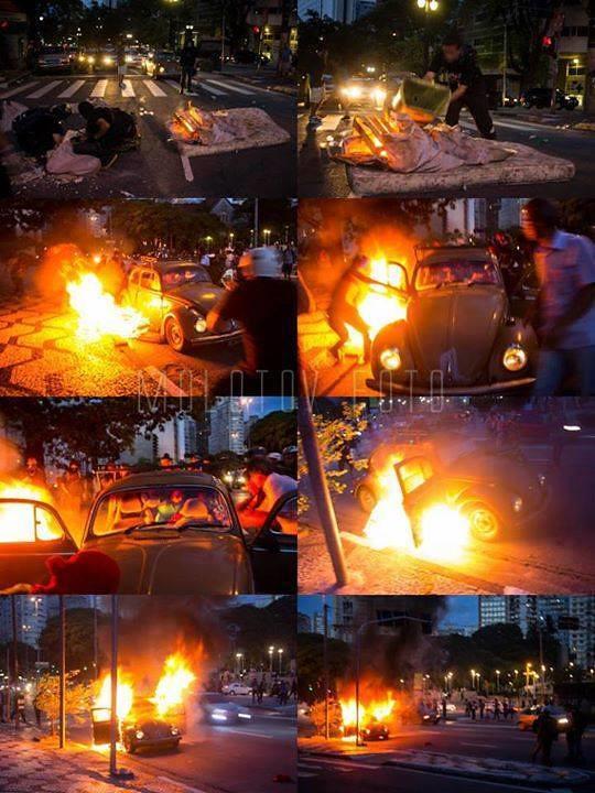 Sequência - Fogo no fusca - Protestos, Copa