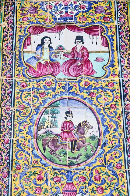 Decoration tile work in Eram garden, Shiraz シラーズ、エラム庭園の装飾タイル