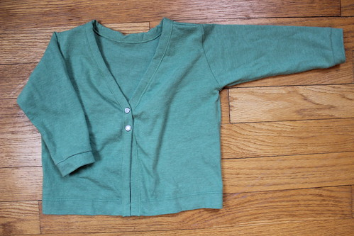 green v-neck cardigan