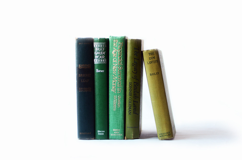 Set of Five Vintage Green Books