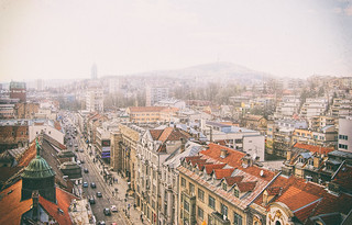Image of  Sarajevo rose. old city roof sky mountain mountains building love rooftop beautiful beauty statue fog skyline architecture buildings landscape smog war day sarajevo bosnia land