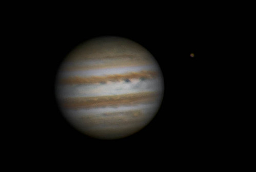 Jupiter & Ganymede RRGB - 260214 - 18:34UTC by Mick Hyde