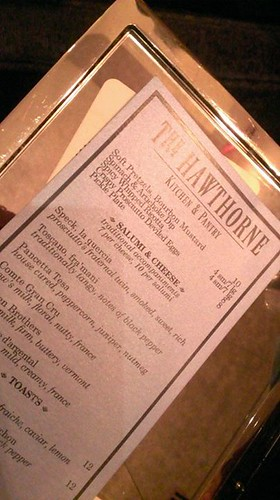 The Hawthorne's menu