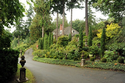Grand Italianate entrance, trees, bushes, pots, mature landscape, house, dormers, street, Llandover by Sound, Seattle, Washington, USA by Wonderlane