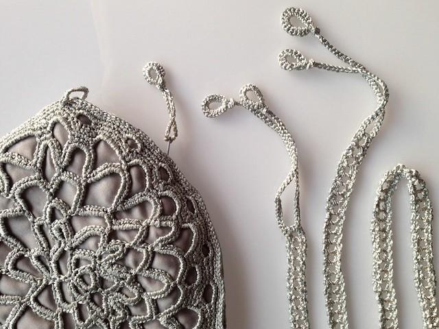 silver crochet lace