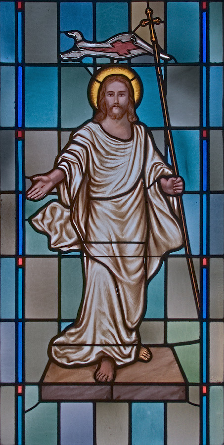 Immaculate Conception Roman Catholic Church, in New Madrid, Missouri, USA - stained glass window of the Resurrection