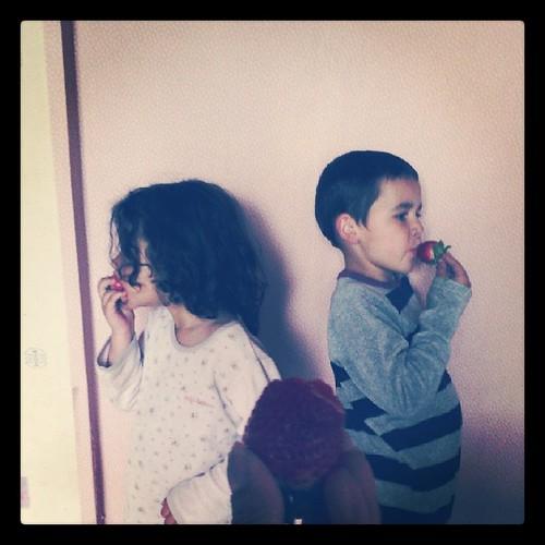 Les fraises ont les manges en familles. #children #instakids #ourlittlefamily #france