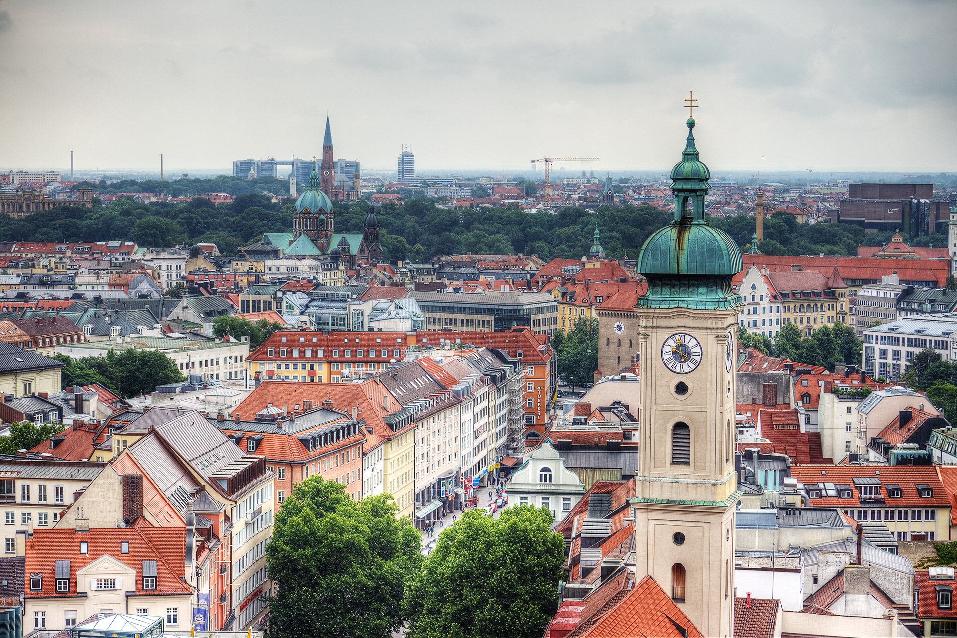 View from St Peter's Church tower, Munich.