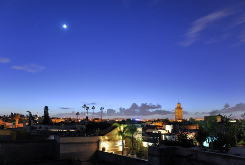 africa city travel urban moon dark stars star nikon cityscape view nightshot african magic mosque morocco marrakech moonlight bluehour arabian magical marokko nightfall riad marrakesch d90