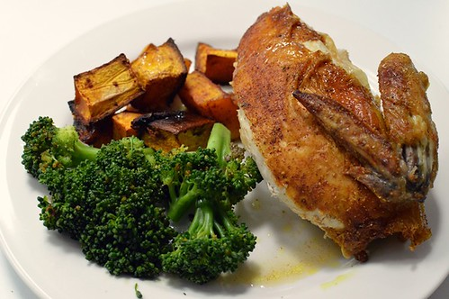 Fragrant roast chicken w cinnamon pumpkin and broccolini