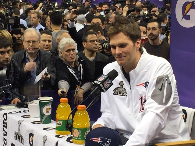 Tom Brady responds to reporters at Media Day