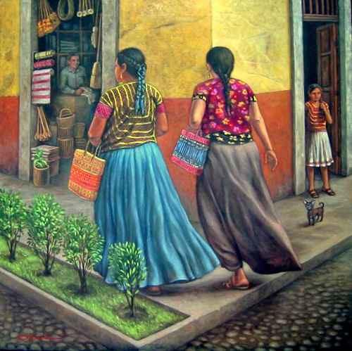 El pintor señala que no toda su obra es costumbrista, pero sí refleja mi gusto por recorrer mi país. Sobre estas líneas, La calle Foto cortesía del pintor