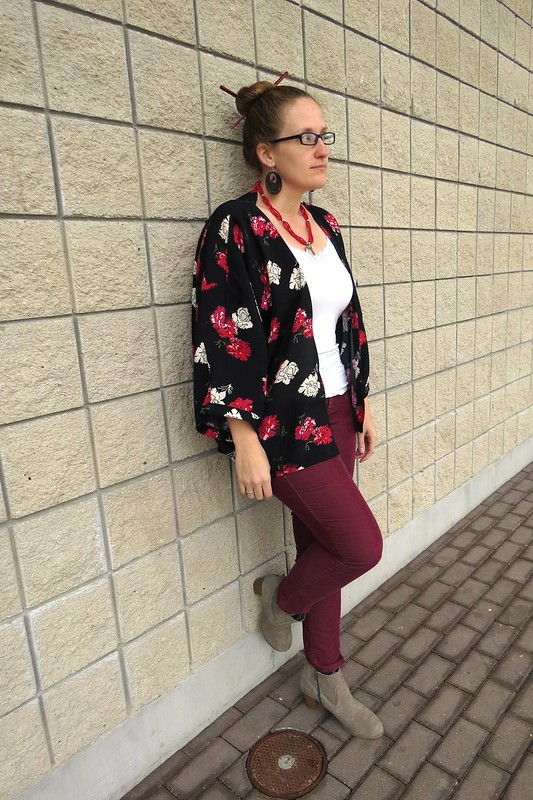 Thrift Style Thursday: Marsala + Kimono Refashion